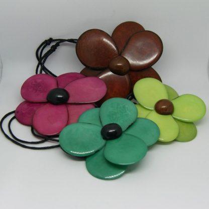 Kleurrijke bloemen hanger - Tagua - 100% natuurlijk materiaal