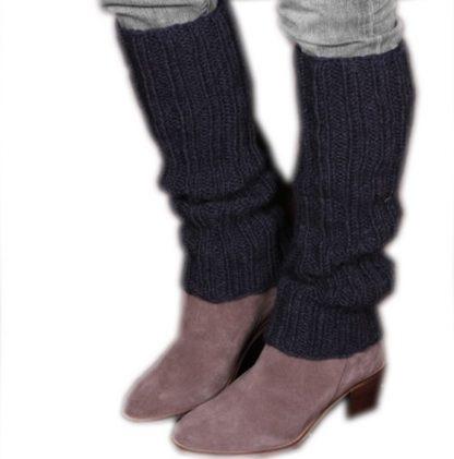 Chamonix Legwarmer (Ribbed) Donker grijs 100% Wol Hand gebreid