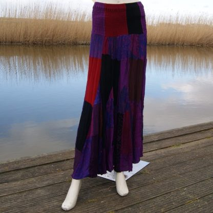 Patchwork rok rayon paars