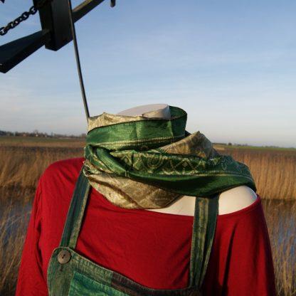 Zijden sjaal groen en creme
