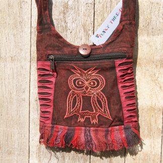 schoudertasje Stonewashed paspoort tasje - Uil - rood