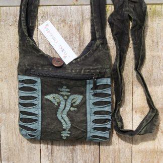 Blauw - stonewashed - schoudertas - Ganesha