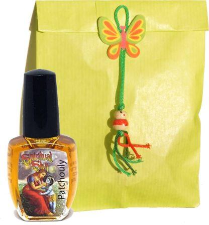 parfum in cadeauzakje met gelukspoppetje
