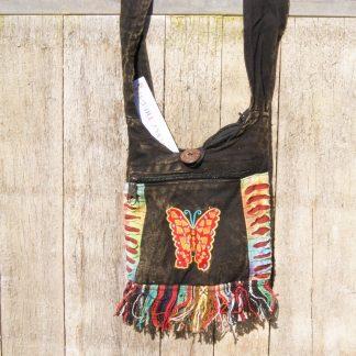 kleine schoudertas - katoen - opengewerkt - applicaties vlinder