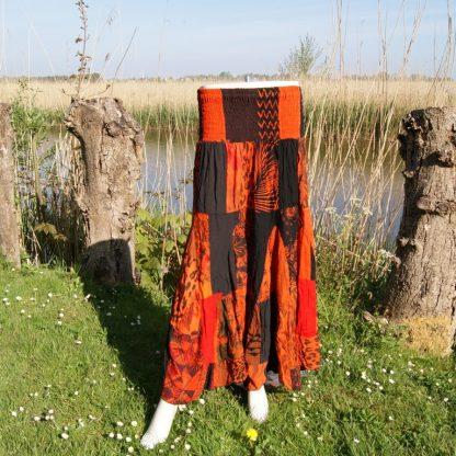 Oranje lange stroken rok