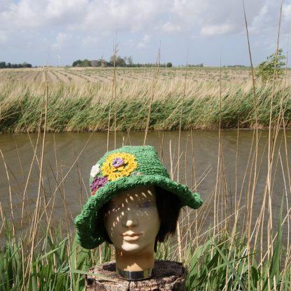Alternatieve hoed - festival hoed - gipsy hoed - hippie hoed - Nepal floppy hat - crochet flower hat