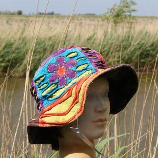 katoen - patchwork-opengewerkt-zomerhoed - met rand