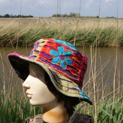 Katoenen hoed - opengewerkt - Nepal zomer hoed