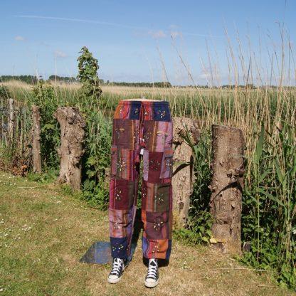 Patch broek - dik katoen - beschilderd - verschillende lappen
