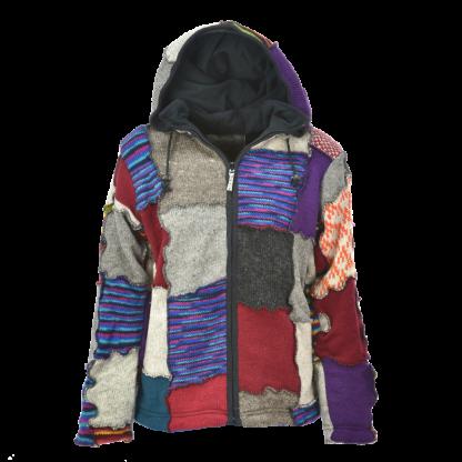 Kleurrijk patch vest met punt capuchon