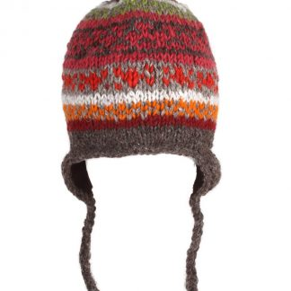 Nepal muts - Chullo - oorflappen - pompon