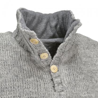 Heren trui - Pure wol - gevoerd - met knopen