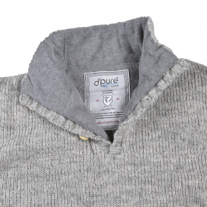 Gevoerde wollen trui grijs ecru