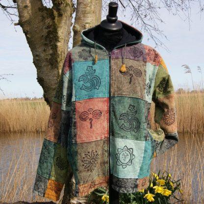 Fleece gevoerde - Patchwork Hooded - Jacket - XL-XXL