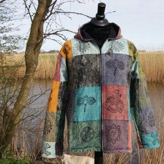 Etnische jas bedrukt Boeddha symbolen
