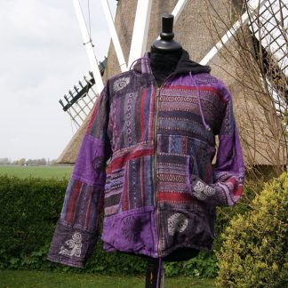 Nepalese jas - lappen stonewashed katoen - gevoerd - capuchon