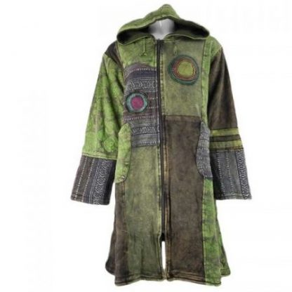Lang stonewashed katoenen patch vest - Indië kleding