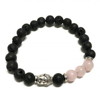 armbandje - lavasteen - boeddha - rozenkwarts