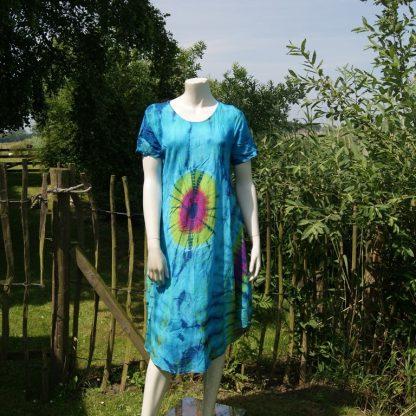 Katoenen tie dye jurk - blauw - alternatieve zomer jurk