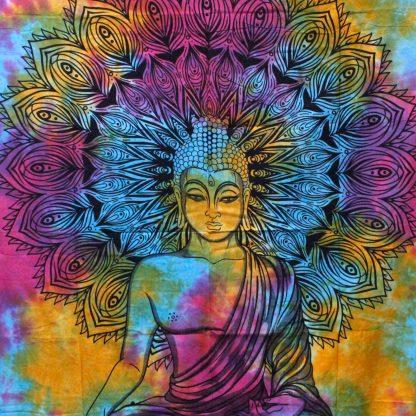 Wandkleed Happy Boeddha Katoen - muurdecoratie