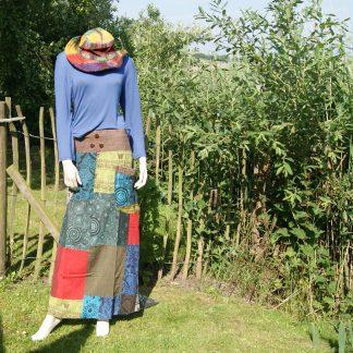 lange tibet rok - lange rok van verschillende lapjes stof