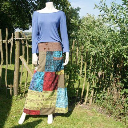 lange katoenen rok - patch work - elastische taille