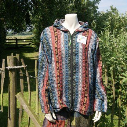 kleurrijk vest - etnisch vest - capuchon - alternatieve kleding