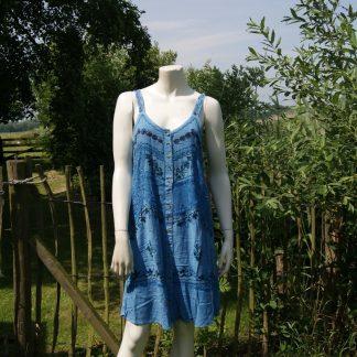 Blauw zomerjurkje - 100% rayon - viscose - India jurkje
