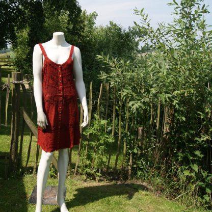 rood zomerjurkje - 100% rayon - viscose - India jurkje