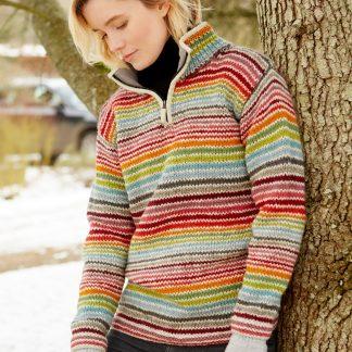 Wollen dames trui - schipperstrui - kleurrijk - met ritsje